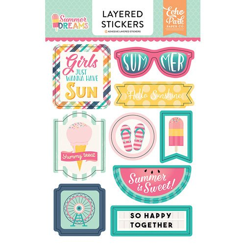 Echo Park - Summer Dreams Collection - Layered Cardstock Stickers