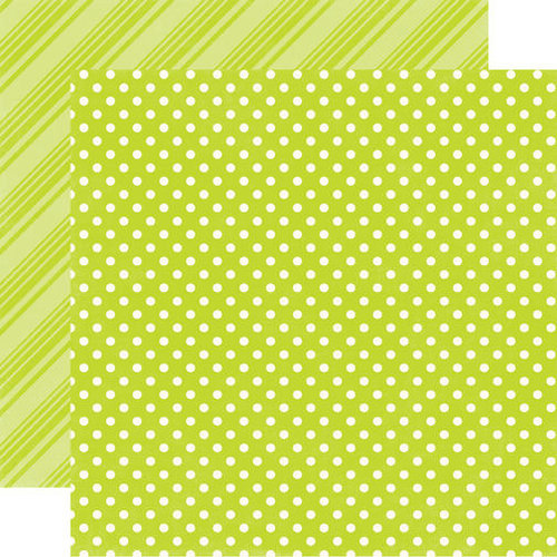 Echo Park - Dots and Stripes Collection - Brights - 12 x 12 Double Sided Paper - Lime