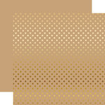 Echo Park - Dots and Stripes Collection - Gold Foil - 12 x 12 Double Sided Paper with Foil Accents - Tan