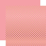 Echo Park - Dots and Stripes Collection - Gold Foil - 12 x 12 Double Sided Paper with Foil Accents - Pink