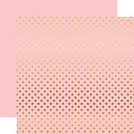 Echo Park - Dots and Stripes Collection - Gold Foil - 12 x 12 Double Sided Paper with Foil Accents - Light Pink