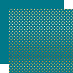Echo Park - Dots and Stripes Collection - Gold Foil - 12 x 12 Double Sided Paper with Foil Accents - Blue