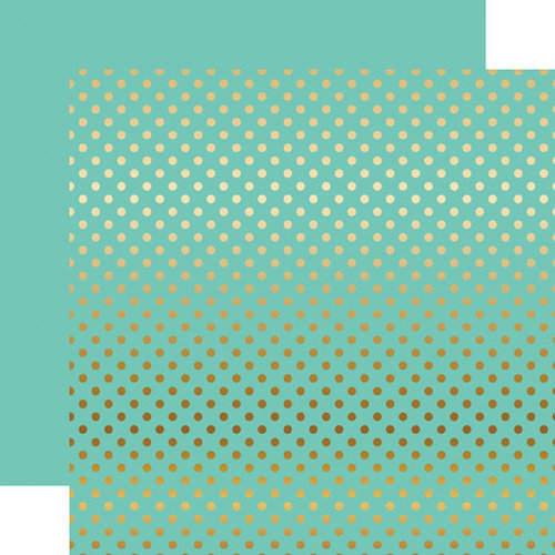 Echo Park - Dots and Stripes Collection - Gold Foil - 12 x 12 Double Sided Paper with Foil Accents - Mint
