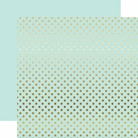 Echo Park - Dots and Stripes Collection - Gold Foil - 12 x 12 Double Sided Paper with Foil Accents - Light Mint