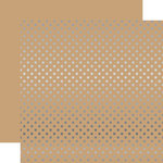 Echo Park - Dots and Stripes Collection - Silver Foil - 12 x 12 Double Sided Paper with Foil Accents - Tan