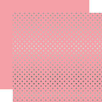 Echo Park - Dots and Stripes Collection - Silver Foil - 12 x 12 Double Sided Paper with Foil Accents - Pink