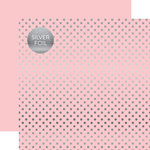 Echo Park - Dots and Stripes Collection - Silver Foil - 12 x 12 Double Sided Paper with Foil Accents - Light Pink