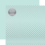 Echo Park - Dots and Stripes Collection - Silver Foil - 12 x 12 Double Sided Paper with Foil Accents - Light Mint