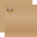 Echo Park - Dots and Stripes Collection - Copper Foil - 12 x 12 Double Sided Paper with Foil Accents - Tan