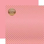 Echo Park - Dots and Stripes Collection - Copper Foil - 12 x 12 Double Sided Paper with Foil Accents - Pink