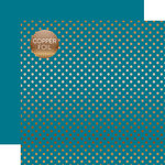 Echo Park - Dots and Stripes Collection - Copper Foil - 12 x 12 Double Sided Paper with Foil Accents - Blue