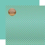 Echo Park - Dots and Stripes Collection - Copper Foil - 12 x 12 Double Sided Paper with Foil Accents - Mint