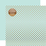 Echo Park - Dots and Stripes Collection - Copper Foil - 12 x 12 Double Sided Paper with Foil Accents - Light Mint