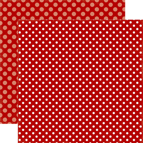 Echo Park - Dots and Stripes Collection - Christmas - 12 x 12 Double Sided Paper - Santa's Hat Dot