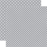 Echo Park - Dots and Stripes Collection - Winter - 12 x 12 Double Sided Paper - Silver Chill Dot