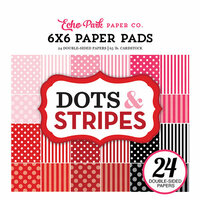 Echo Park - Dots and Stripes Collection - Valentines - 6 x 6 Paper Pad