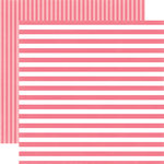 Echo Park - Dots and Stripes Collection - Little Girl - 12 x 12 Double Sided Paper - Lipstick Stripe