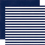 Echo Park - Dots and Stripes Collection - Little Boy - 12 x 12 Double Sided Paper - Blue Denim Stripe