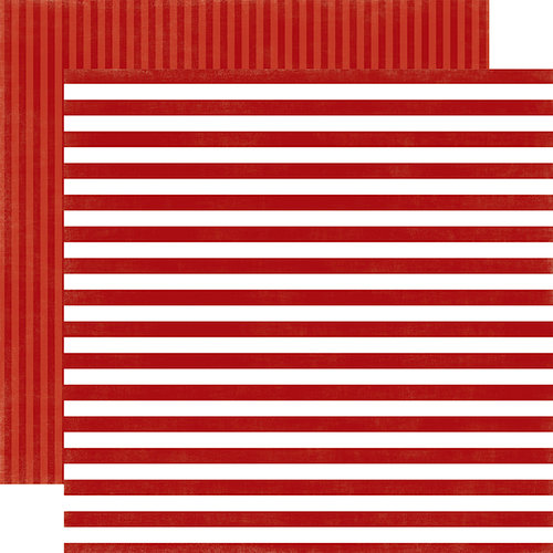Echo Park - Dots and Stripes Collection - Little Boy - 12 x 12 Double Sided Paper - Fire Truck Stripe
