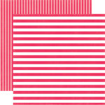 Echo Park - Dots and Stripes Collection - Spring - 12 x 12 Double Sided Paper - Melon Kiss Stripe