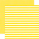 Echo Park - Dots and Stripes Collection - Spring - 12 x 12 Double Sided Paper - Lemon Passion Stripe