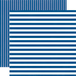 Echo Park - Dots and Stripes Collection - Summer - 12 x 12 Double Sided Paper - Blue Lagoon Stripe