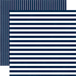 Echo Park - Dots and Stripes Collection - Summer - 12 x 12 Double Sided Paper - Nautical Navy Stripe