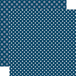 Echo Park - Dots and Stripes Collection - Summer - 12 x 12 Double Sided Paper - Deep Blue Sea Dot