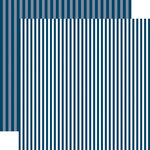 Echo Park - Dots and Stripes Collection - Summer - 12 x 12 Double Sided Paper - Deep Blue Sea Stripe