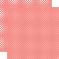 Echo Park - Dots and Stripes Collection - 12 x 12 Double Sided Paper - Salmon Pink