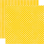 Echo Park - Candy Shoppe Dots and Stripes Collection - 12 x 12 Double Sided Paper - Lemon Drop Small Dot