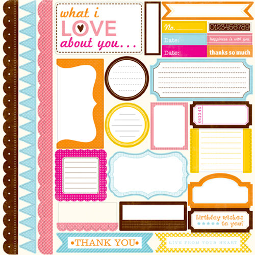Echo Park - Candy Shoppe Dots and Stripes Collection - 12 x 12 Cardstock Stickers - Elements