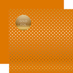 Echo Park - Dots and Stripes Collection - Autumn Gold Foil Dots - 12 x 12 Double Sided Paper with Foil Accents - Orange