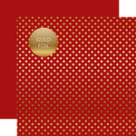Echo Park - Dots and Stripes Collection - Autumn Gold Foil Dots - 12 x 12 Double Sided Paper with Foil Accents - Red