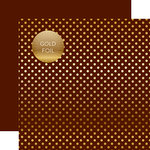 Echo Park - Dots and Stripes Collection - Autumn Gold Foil Dots - 12 x 12 Double Sided Paper with Foil Accents - Brown