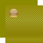 Echo Park - Dots and Stripes Collection - Autumn Gold Foil Dots - 12 x 12 Double Sided Paper with Foil Accents - Green