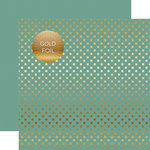 Echo Park - Dots and Stripes Collection - Autumn Gold Foil Dots - 12 x 12 Double Sided Paper with Foil Accents - Teal