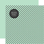 Echo Park - Dots and Stripes Collection - Black Foil Dots - 12 x 12 Double Sided Paper with Foil Accents - Mint