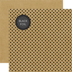 Echo Park - Dots and Stripes Collection - Black Foil Dots - 12 x 12 Double Sided Paper with Foil Accents - Kraft