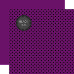 Echo Park - Dots and Stripes Collection - Black Foil Dots - 12 x 12 Double Sided Paper with Foil Accents - Purple