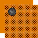 Echo Park - Dots and Stripes Collection - Black Foil Dots - 12 x 12 Double Sided Paper with Foil Accents - Orange