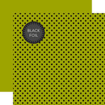 Echo Park - Dots and Stripes Collection - Black Foil Dots - 12 x 12 Double Sided Paper with Foil Accents - Green