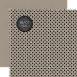 Echo Park - Dots and Stripes Collection - Black Foil Dots - 12 x 12 Double Sided Paper with Foil Accents - Gray