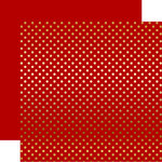 Echo Park - Dots and Stripes Collection - Christmas - Gold Foil Dots - 12 x 12 Double Sided Paper - Dark Red