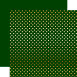 Echo Park - Dots and Stripes Collection - Christmas - Gold Foil Dots - 12 x 12 Double Sided Paper - Dark Green