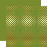 Echo Park - Dots and Stripes Collection - Christmas - Gold Foil Dots - 12 x 12 Double Sided Paper - Olive Green
