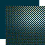 Echo Park - Dots and Stripes Collection - Christmas - Gold Foil Dots - 12 x 12 Double Sided Paper - Navy