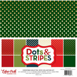 Echo Park - Dots and Stripes Collection - Christmas - Gold Foil Dots - 12 x 12 Collection Kit