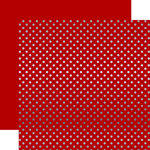 Echo Park - Dots and Stripes Collection - Christmas - Silver Foil Dots - 12 x 12 Double Sided Paper - Dark Red