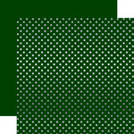 Echo Park - Dots and Stripes Collection - Christmas - Silver Foil Dots - 12 x 12 Double Sided Paper - Dark Green